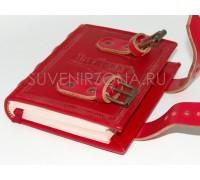 """Блокнот """"Вечный человек""""- книжка ручной работы (красная кожа)"""