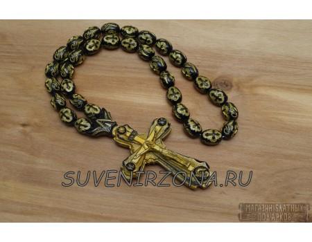 Купить четки в автомобиль «Крест XL» черное золото