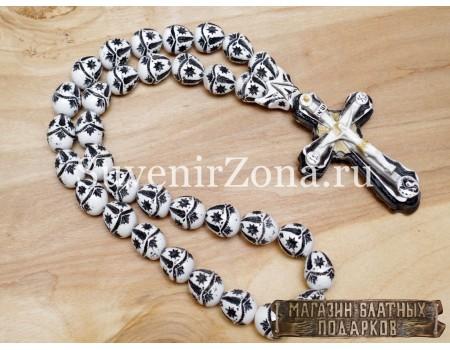 Купить четки в автомобиль «Крест XL» бело-черный