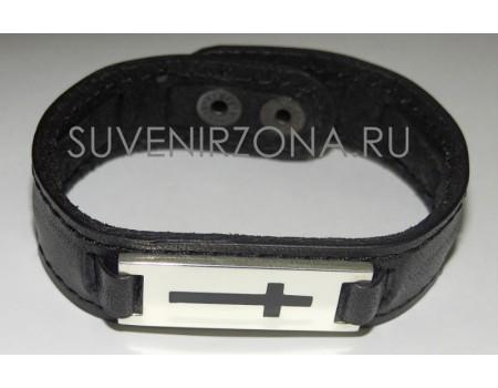 Купить православный наручный кожанный браслет (оберег)  с вставкой из серебра 925 пробы