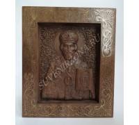 Икона Николай Чудотворец - инкрустация латунь