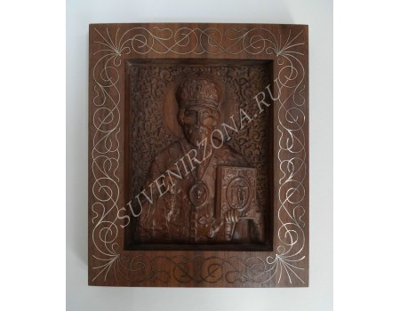 Икона Николай Чудотворец - инкрустация серебро