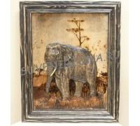 Панно большое (60см х 50см) «Саванный слон гигант»