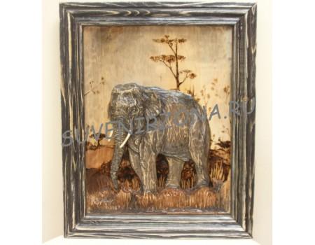 Купить панно большое «Саванный слон гигант» (60см х 50см)