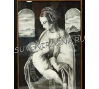 Картина углём большая (55см х 40см) «Мария с младенцем»