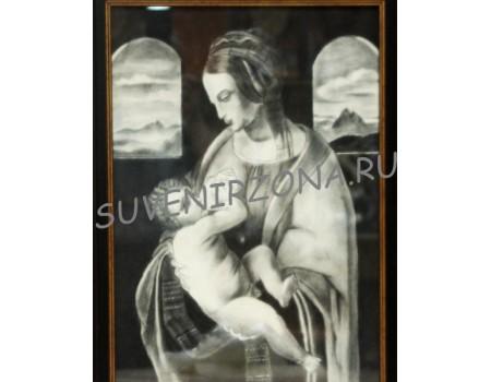 Купить картину углём  «Мария с младенцем» большая (55см х 40см)