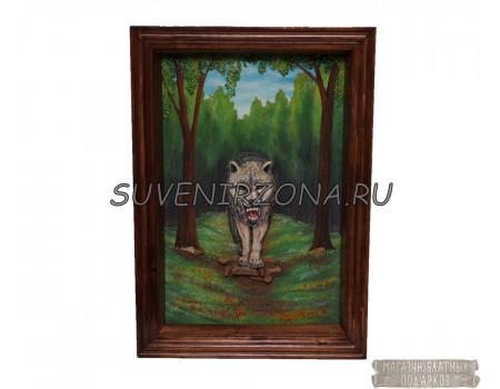 Купить панно большое «Волк»