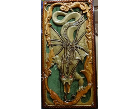 Купить нарды сквозная резка «Дракон» зеленый бархат