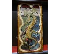 Нарды сквозная резка под зеркало «Императорский дракон»