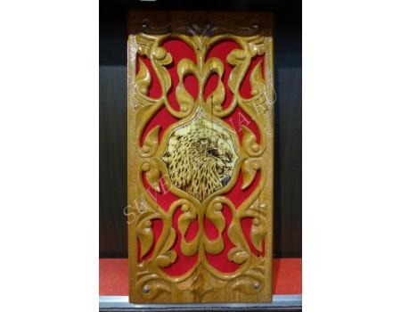 Купить нарды резные под красный бархат «Орел»