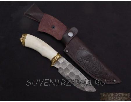 Купить подарочный нож «Морж» дамаск камень