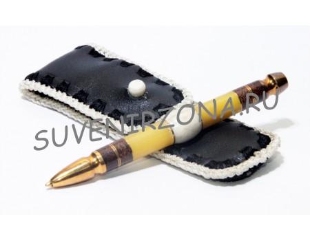 Купить шариковую ручку «Каир» в чехле (эбонит, латунь, текстолит, оргстекло, рог лося)