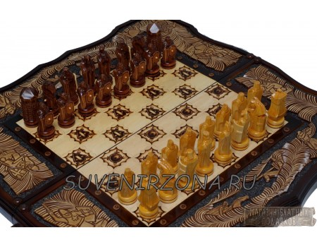 Купить резные шахматы-нарды «Ледовое побоище»