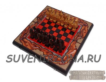 """Купить Шахматы-нарды 3в1 """"RED"""" ручной работы"""